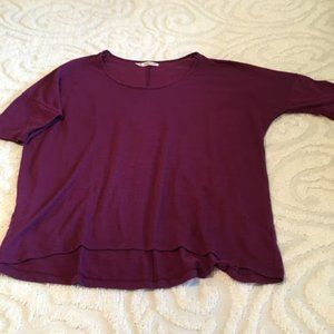 Maurices Purple Short Sleeve Pullover Hi-Lo Top